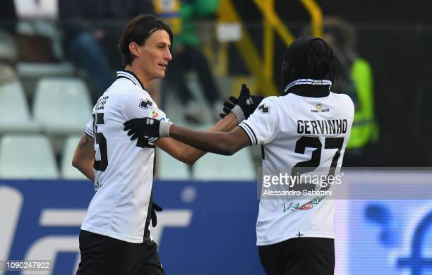 Roberto Inglese of Parma Calcio celebrates after scoring his team second goal with team mate during the Serie A match between Parma Calcio and SPAL...