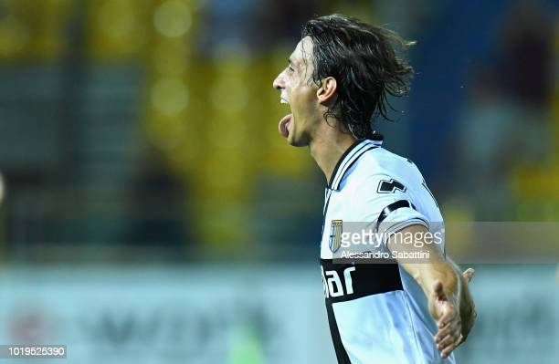 Roberto Inglese of Parma Calcio celebrates after scoring the opening goal during the serie A match between Parma Calcio and Udinese at Stadio Ennio...