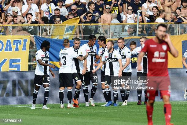 Roberto Inglese of Parma Calcio celebrates after scoring the opening goal during the serie A match between Parma Calcio and Cagliari at Stadio Ennio...