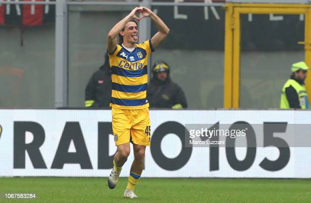 Roberto Inglese of Parma Calcio celebrates after scoring the opening goal during the Serie A match between AC Milan and Parma Calcio at Stadio...