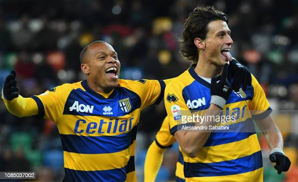 Roberto Inglese of Parma Calcio celebrates after scoring the opening goal during the Serie A match between Udinese and Parma Calcio at Stadio Friuli...