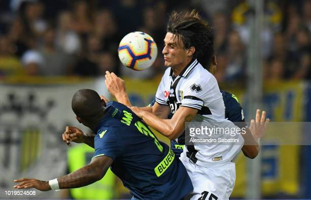 Jens Stryger Larsen of Udinese Calcio in action during the serie A match between Parma Calcio and Udinese at Stadio Ennio Tardini on August 19 2018...