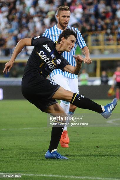 Roberto Inglese of Parma Calcio in action during the serie A match between SPAL and Parma Calcio at Stadio Renato Dall'Ara on August 26 2018 in...