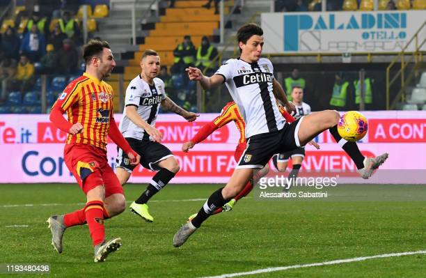 Roberto Inglese of Parma Calcio kicks the ball during the Serie A match between Parma Calcio and US Lecce at Stadio Ennio Tardini on January 13 2020...