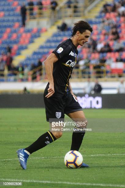 Roberto Inglese of Parma Calcio kicks towards the goal during the serie A match between SPAL and Parma Calcio at Stadio Renato Dall'Ara on August 26...
