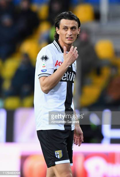 Roberto Inglese of Parma Calcio looks on during the Serie A match between Parma Calcio and Genoa CFC at Stadio Ennio Tardini on March 10 2019 in...