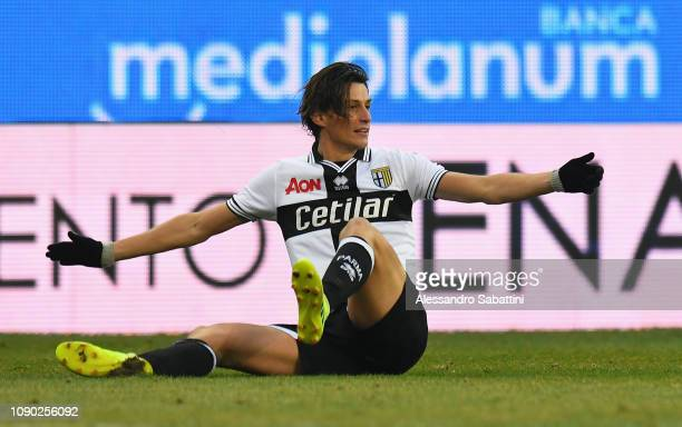 Roberto Inglese of Parma Calcio reacts during the Serie A match between Parma Calcio and SPAL at Stadio Ennio Tardini on January 27 2019 in Parma...