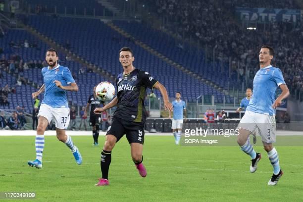 Roberto Inglese of Parma Francesco Acerbi of Lazio and Luiz Felipe Ramos Marchi of Lazio are seen in action during the Serie A match between Lazio...