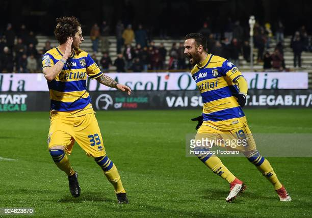 Roberto Insigne and Jacopo Dezi of Parma Calcio celebrate the 01 goal scored by Jacopo Dezi during the Serie B match between US Salernitana and Parma...
