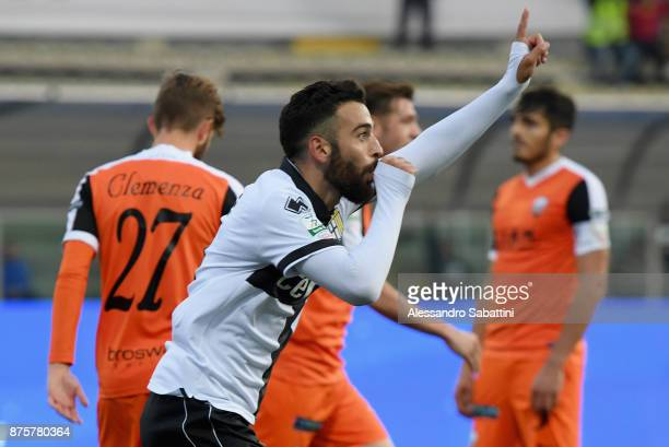Roberto Insigne of Parma Calcio celebrates after scoring his team second goal during the Serie B match between Parma Calcio and Ascoli Picchio at...