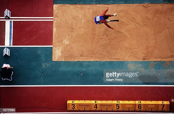 Roberto La Barbera of Italy competing in the Men's Long Jump during the 2000 Sydney Paralympic Games at Stadium Australia in Sydney Australia October...