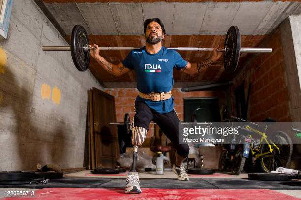 Roberto La Barbera trains in isolation on April 23 2020 in Alessandria Italy La Barbera has a very long history in paralympic competitions winning...