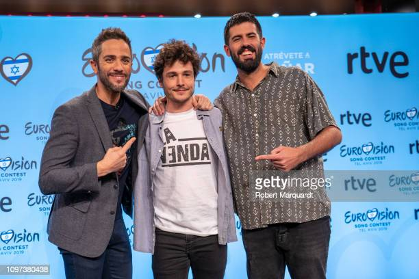 Roberto Leal Miki and Adria Salas attend a press conference for Eurovision 2019 at the RTVE studios on January 21 2019 in Barcelona Spain