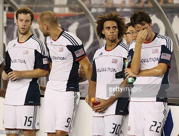Roberto Linck Kevin AlstonIlija Stolica and Zack Schilawski of the New England Revolution react to the loss of the SuperLiga 2010 championship game...