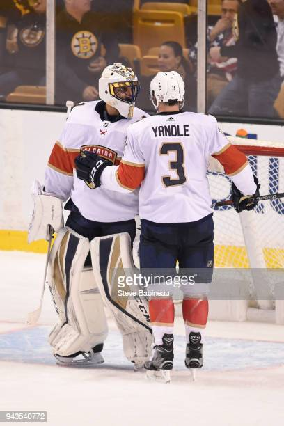 Roberto Luongo and Keith Yandle of the Florida Panthers celebrate the win against the Boston Bruins at the TD Garden on April 8 2018 in Boston...