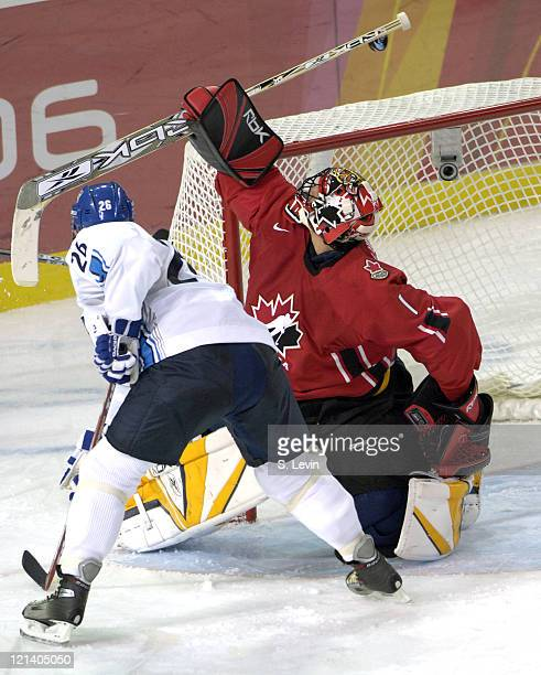 Roberto Luongo of Canada in action at the Torino Esposizioni in Torino, Italy on February 19, 2006.