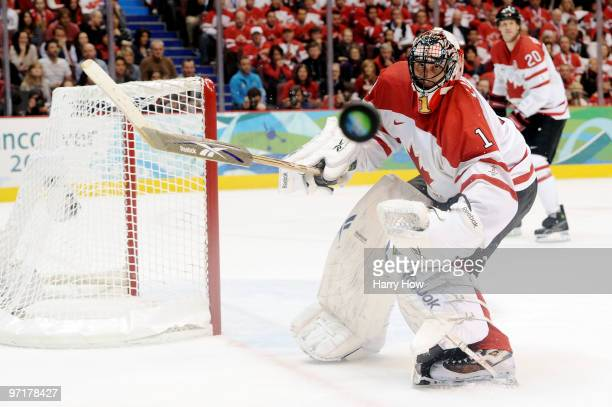 Roberto Luongo of Canada makes a save during the ice hockey men's gold medal game between USA and Canada on day 17 of the Vancouver 2010 Winter...