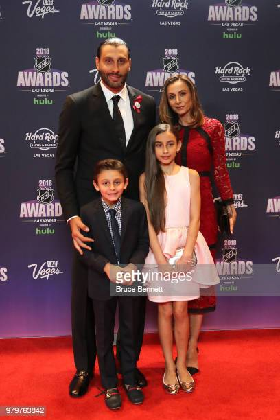 Roberto Luongo of the Florida Panthers and guests arrive at the 2018 NHL Awards presented by Hulu at the Hard Rock Hotel Casino on June 20 2018 in...