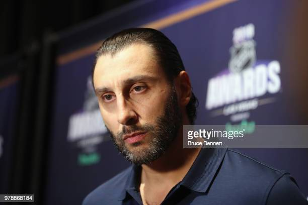 Roberto Luongo of the Florida Panthers attends the 2018 NHL Awards nominee media availability at the Encore Las Vegas on June 19 2018 in Las Vegas...