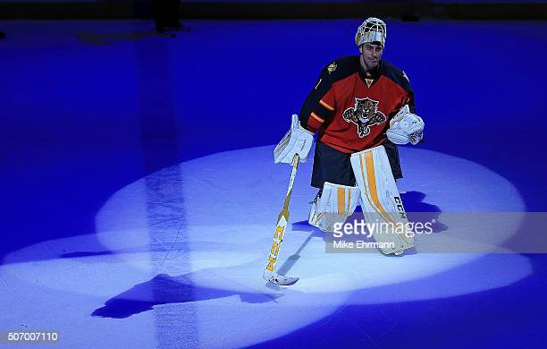 Roberto Luongo of the Florida Panthers celebrates winning a game against the Toronto Maple Leafs at BBT Center on January 26 2016 in Sunrise Florida