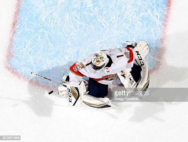 Roberto Luongo of the Florida Panthers deflects the puck away from the crease during an NHL game against the Carolina Hurricanes on November 7 2017...