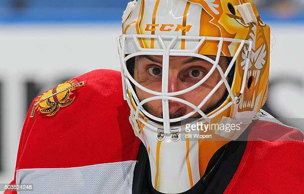 Roberto Luongo of the Florida Panthers follows the play during their 51 victory against the Buffalo Sabres in an NHL game on January 5 2016 at the...
