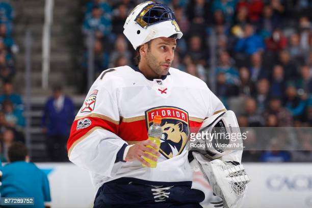 Roberto Luongo of the Florida Panthers gets a drink during the game against the San Jose Sharks at SAP Center on November 16 2017 in San Jose...