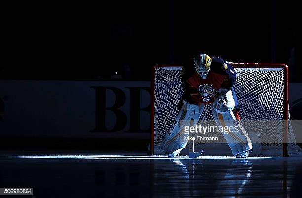 Roberto Luongo of the Florida Panthers looks on during a game against the Toronto Maple Leafs at BBT Center on January 26 2016 in Sunrise Florida