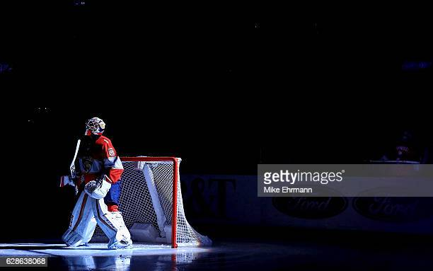 Roberto Luongo of the Florida Panthers looks on during a game against the Pittsburgh Penguins at BBT Center on December 8 2016 in Sunrise Florida