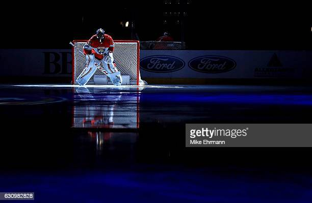 Roberto Luongo of the Florida Panthers looks on during a game against the Winnipeg Jets at BBT Center on January 4 2017 in Sunrise Florida