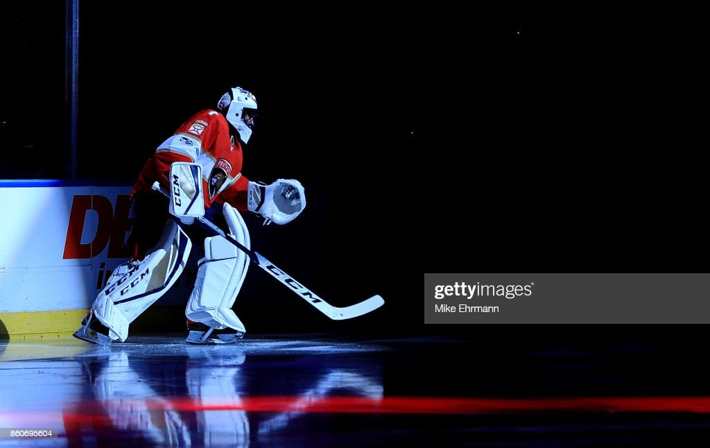 Roberto Luongo #1 of the Florida Panthers looks on during a game against the St. Louis Blues at BB&T Center on October 12, 2017 in Sunrise, Florida.