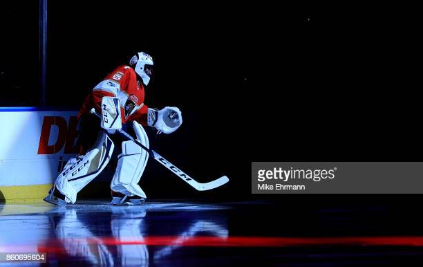 Roberto Luongo of the Florida Panthers looks on during a game against the St Louis Blues at BBT Center on October 12 2017 in Sunrise Florida