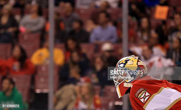 Roberto Luongo of the Florida Panthers looks on during Opening Night of the 20162017 NHL Season against New Jersey Devils at BBT Center on October 13...