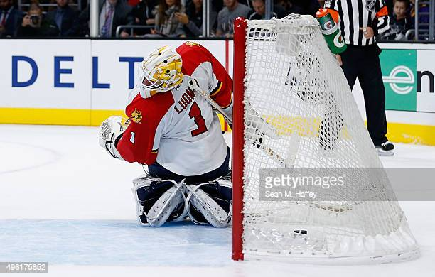 Roberto Luongo of the Florida Panthers looks over his shoulder after the Los Angeles Kings scored a goal during the second period of a game at...