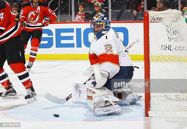 Roberto Luongo of the Florida Panthers makes a save against the New Jersey Devils during the game at Prudential Center on January 9 2017 in Newark...