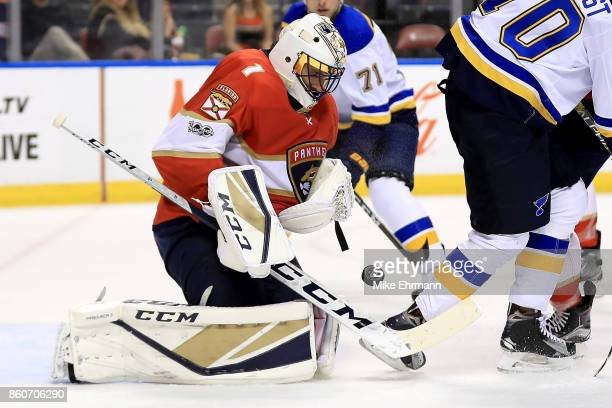 Roberto Luongo of the Florida Panthers makes a save during a game against the St Louis Blues at BBT Center on October 12 2017 in Sunrise Florida