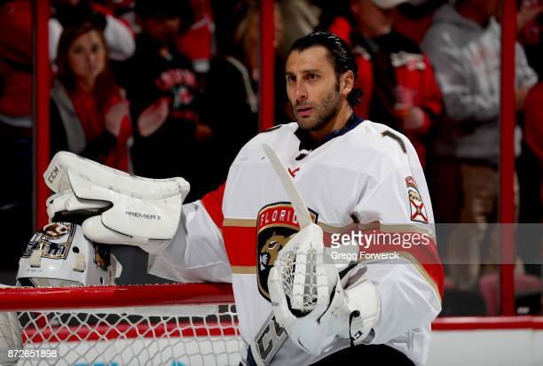 Roberto Luongo of the Florida Panthers prepares for a faceoff during an NHL game against the Carolina Hurricanes on November 7 2017 at PNC Arena in...