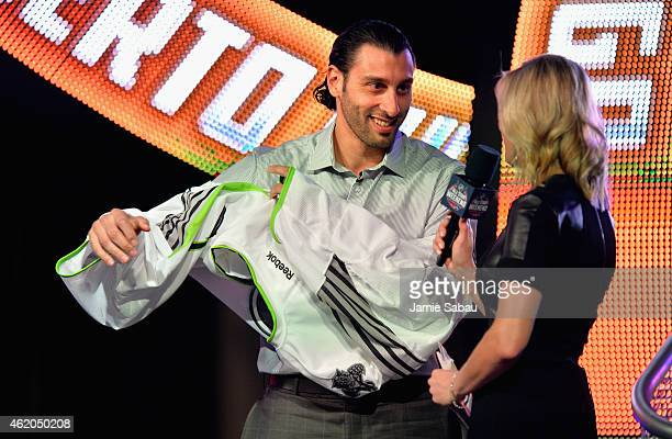 Roberto Luongo of the Florida Panthers smiles after being selected by Team Toews during the NHL AllStar Fantasy Draft as part of the 2015 NHL AllStar...