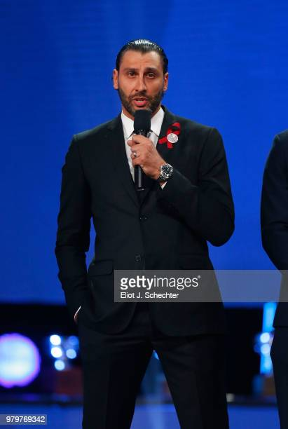 Roberto Luongo of the Florida Panthers speaks onstage during the 2018 NHL Awards presented by Hulu at The Joint inside the Hard Rock Hotel Casino on...