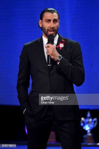 Roberto Luongo of the Florida Panthers speaks regarding the shooting at Marjory Stoneman Douglas High School onstage at the 2018 NHL Awards presented...