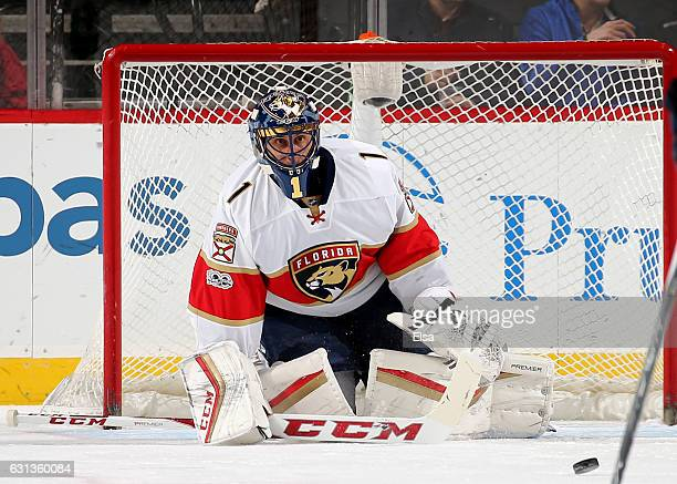 Roberto Luongo of the Florida Panthers stops a shot in the first period against the New Jersey Devils on January 9 2017 at Prudential Center in...