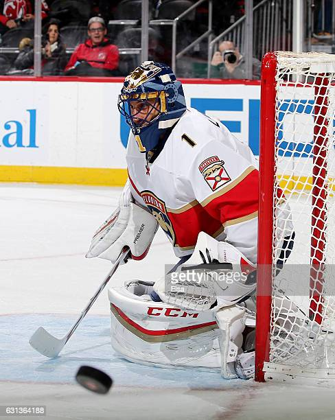 Roberto Luongo of the Florida Panthers stops a shot in the second period against the New Jersey Devils on January 9 2017 at Prudential Center in...