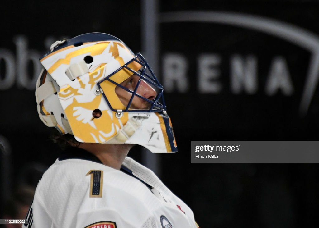 Roberto Luongo Of The Florida Panthers Takes A Break During A Stop