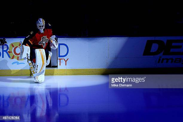 Roberto Luongo of the Florida Panthers takes the ice during a game against the Tampa Bay Lightning at BBT Center on November 16 2015 in Sunrise...