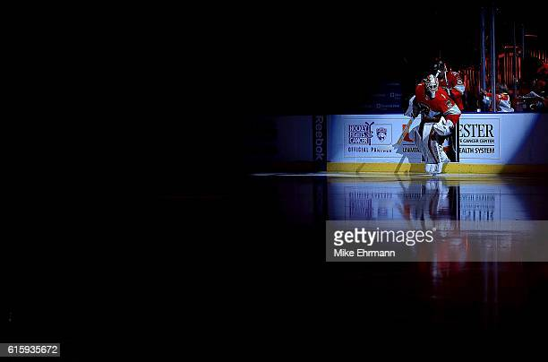 Roberto Luongo of the Florida Panthers takes the ice during a game against Washington Capitals at BBT Center on October 20 2016 in Sunrise Florida