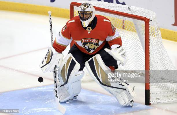 Roberto Luongo of the Florida Panthers warms up during a game against the St Louis Blues at BBT Center on October 12 2017 in Sunrise Florida