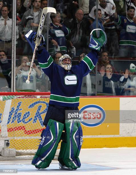 Roberto Luongo of the Vancouver Canucks celebrates the Canuck's victory over the Dallas Stars during game seven 2007 Western Conference Quarterfinal...