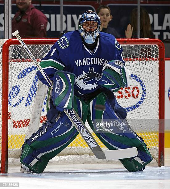 Roberto Luongo of the Vancouver Canucks eyes te shooter during their game against the Minnesota Wild at General Motors Place on January 21, 2008 in...