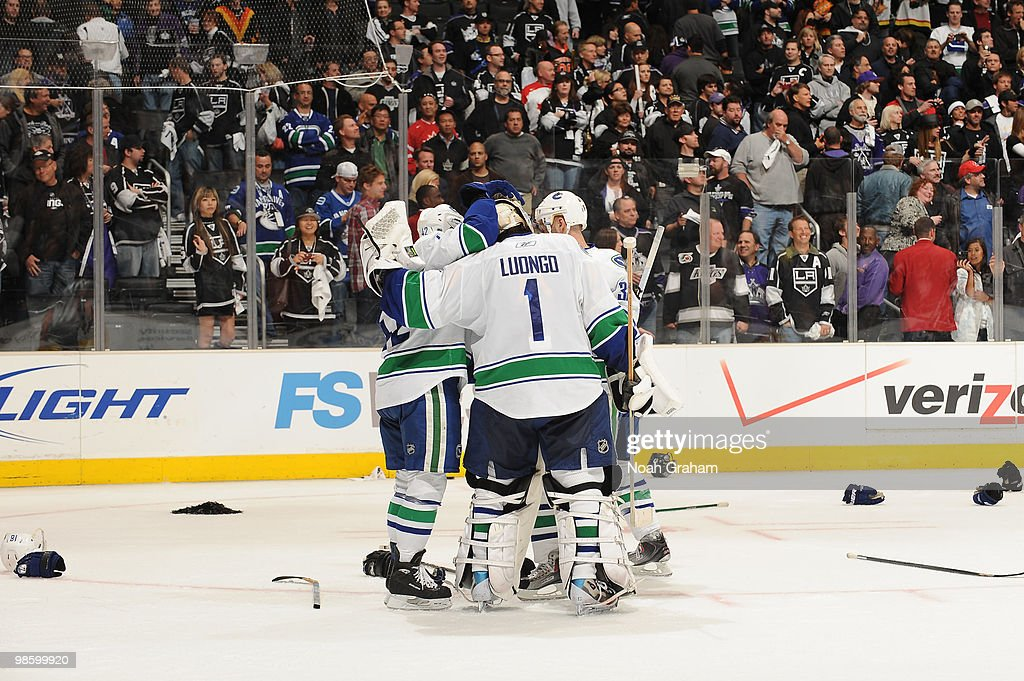Roberto Luongo Of The Vancouver Canucks Is Congratulated After
