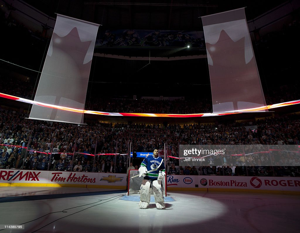 Roberto Luongo Of The Vancouver Canucks Listens To The National